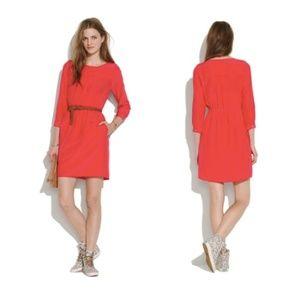 Madewell Silk Day Dress Red Tunic 3/4 Sleeve